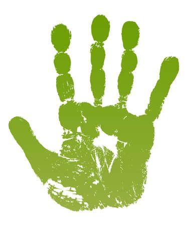 illustratie oude man groene hand afdruk geïsoleerd op wit.