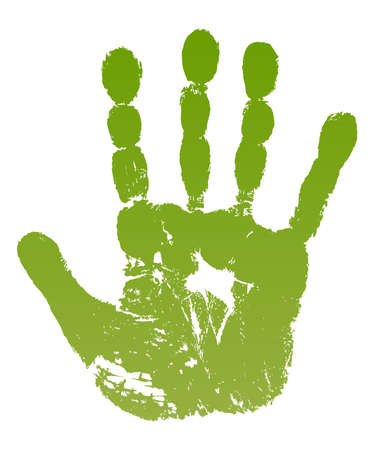 illustration old man green hand print isolated on white.