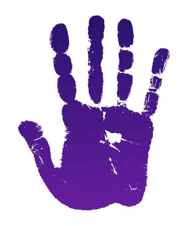 illustratie oude man violet hand afdrukken op wit wordt geïsoleerd