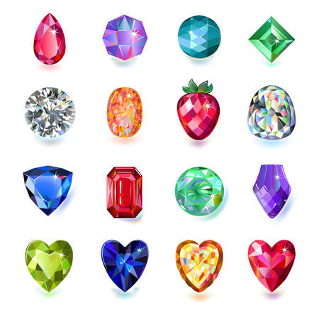 Set of colored gems isolated on white background.