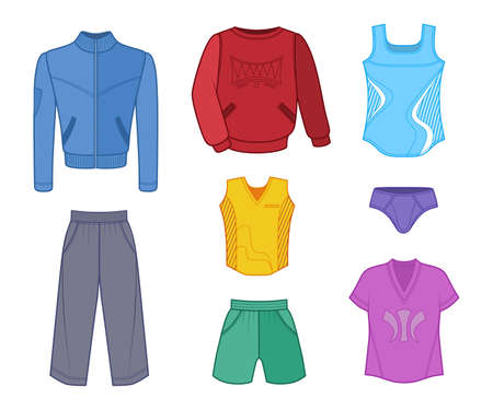 tricot: Man set tricot clothes colored isolated on white background. Illustration