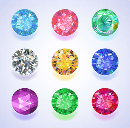 Set of nine colored gems isolated on light background