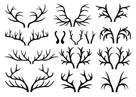 black buck: Deer antlers black silhouettes set vector isolated on white background