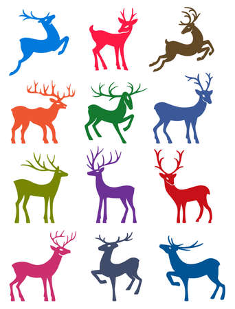 wild venison: Twelve colored deer set silhouettes isolated on white background Illustration