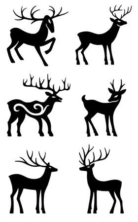 Six deer set silhouettes isolated on white background