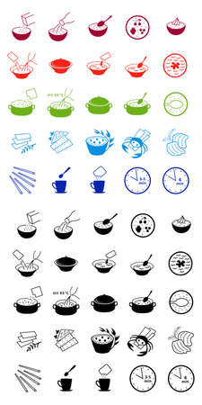 instant coffee: Colored & black fast food cooking process outlined icons isolated on white background.