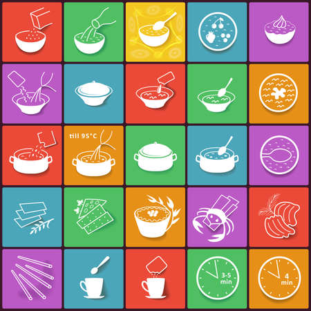 boil: Colored flat fast food cooking process packaging outlined icons set isolated on background.