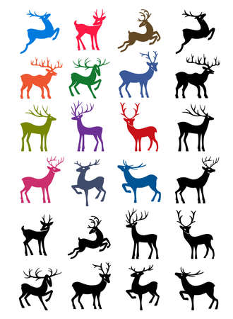 progeny: Colored & black outlined deer isolated on white background.