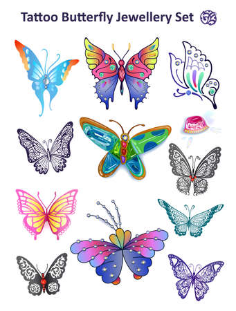 Butterflies colored gem rhinestones set suitable for a tattoo isolated on white background Vector
