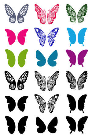 Butterflies monochrome wings set suitable for a tattoo isolated  Vector