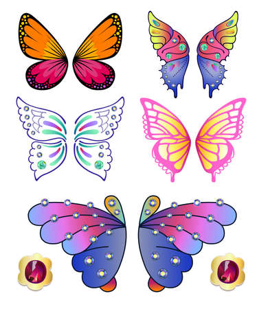 Butterflies colored gem rhinestones set isolated Vector