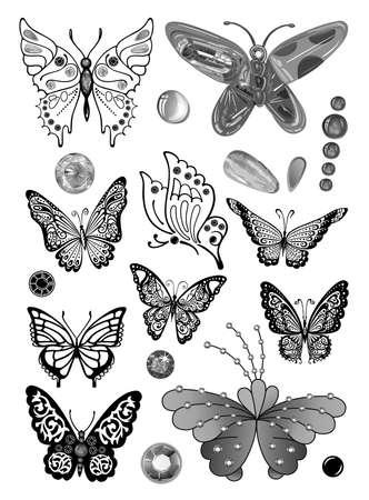 Vlinders monochrome juweeltje strass set geschikt voor een tatoeage op een witte achtergrond Stock Illustratie