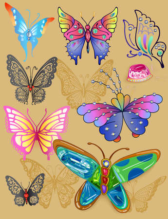 Butterflies colored gem rhinestones set suitable for a tattoo isolated on beige background Vector