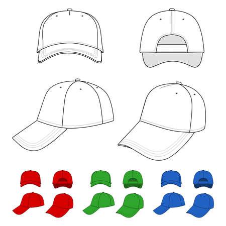 Cap illustratie gekenmerkt voorkant, achterkant, zijkant, bovenkant geïsoleerd op wit.