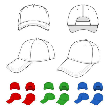 Cap illustration featured front, back, side, top isolated on white. Vector