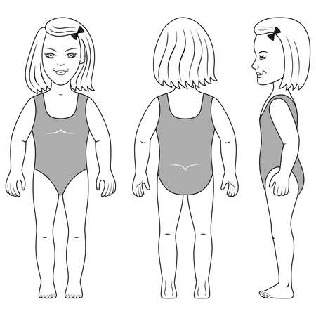 Full length front, back, side view of a standing girl preschooler in swimsuit. Vektoros illusztráció