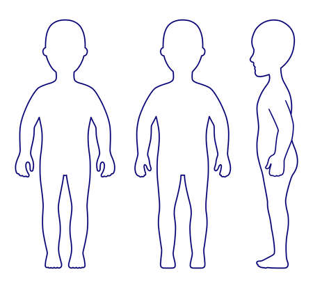 Full length front, side, back view standing girl outlined silhouette isolated on white, EPS8