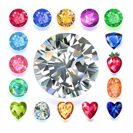 sapphire: Set of colored located on a square gems isolated on white background, vector illustration.