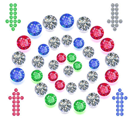 Set of colored gems located on a spiral isolated on white background, vector illustration