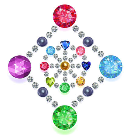rhinestones: Set of colored gems located on a rhombus & circle isolated on white background, vector illustration