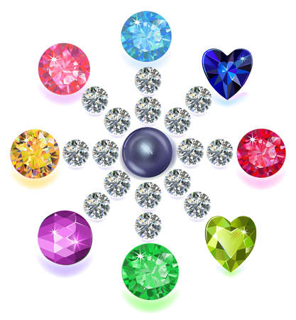 ruby stone: Set of colored located on a circle gems isolated on white background, vector illustration