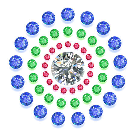 rhinestones: Set of colored located on a circle gems isolated on white background, vector illustration