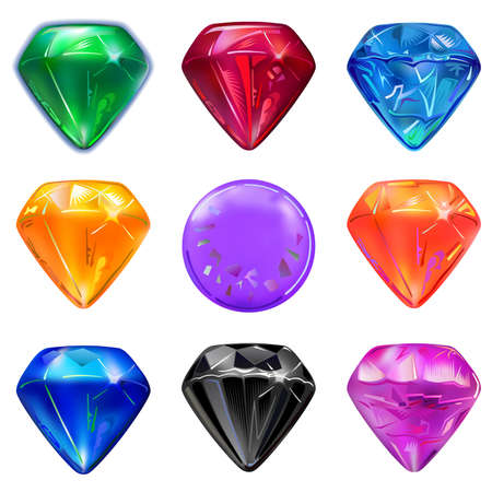 sapphire: Set of colored gems isolated on white background, vector illustration