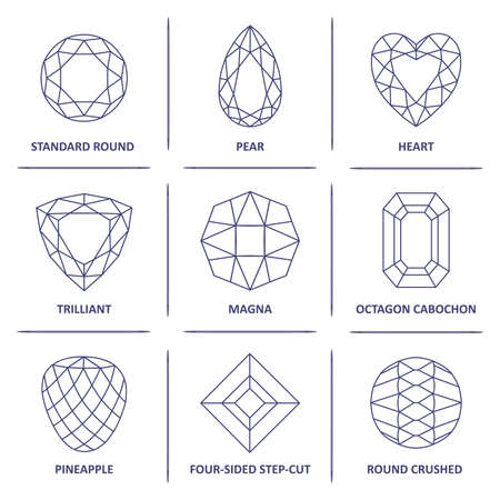 Low poly popular blueprint outline jewelry gems cuts infographics isolated on white background, vector illustration Vectores