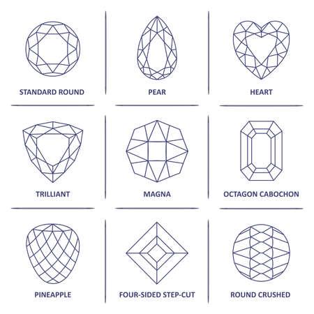cabochon: Low poli blueprint popolare gemme gioielli contorno tagli infografica isolato su sfondo bianco, illustrazione vettoriale Vettoriali