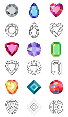 range fruit: Flat style low poly colored & black outline template gems cuts jewelry icons isolated on white background, vector illustration Illustration