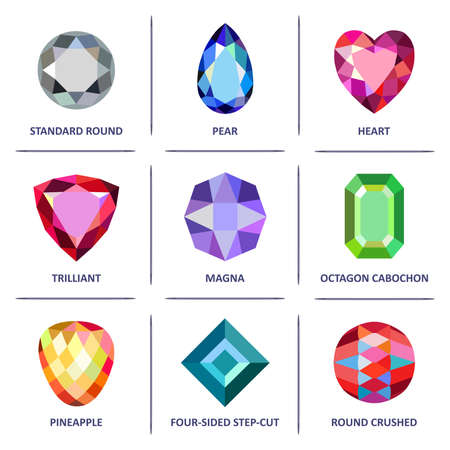 trilliant: Low poly popular colored & outline jewelry gems cuts infographics isolated on white background, vector illustration