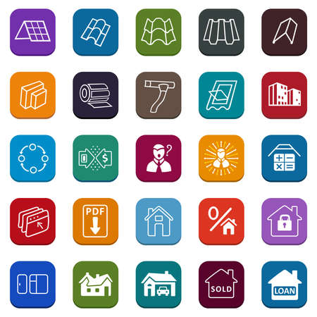 Sale buildings materials (roof, facade) site icons set isolated on white background, vector illustration Vector