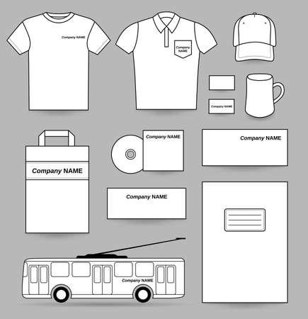 posicionamiento de marca: Plantilla Anuncios conjunto blanco aislado en fondo gris, ilustración vectorial