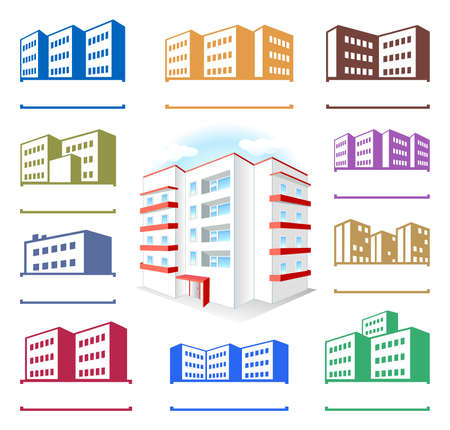 strong base: Multistoried building site icons set isolated on white background, vector illustration