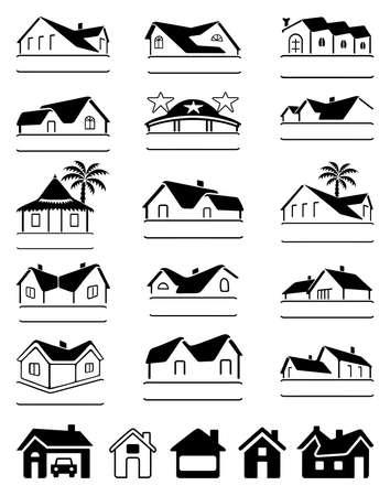 bungalow: Buildings black  set isolated on white background, vector illustration Illustration