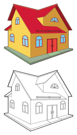 Colored & outlined cottage isolated on white background, vector illustration Illustration