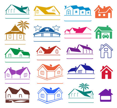 Buildings  set isolated on white background, vector illustration