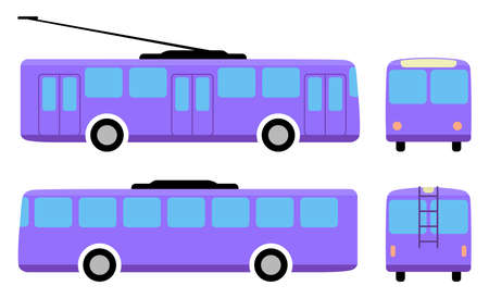 motor coach: Trolleybus (front, back, side view) isolated on white background, vector illustration Illustration