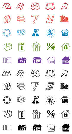 housetop: Sale buildings materials (roof, facade) site icons set isolated on white background, vector illustration