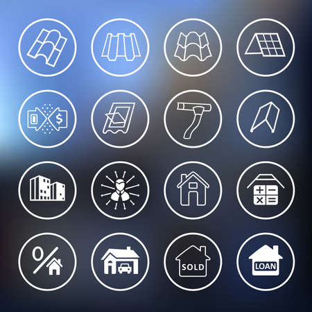 roofing: Sale buildings materials (roof, facade) site icons set isolated on blurred background, vector illustration