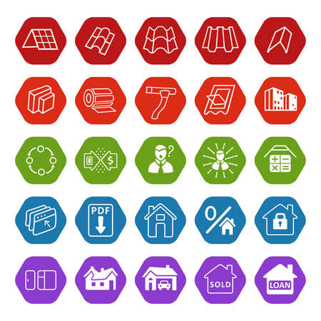 roofing system: Sale buildings materials (roof, facade) site icons set isolated on white background, vector illustration
