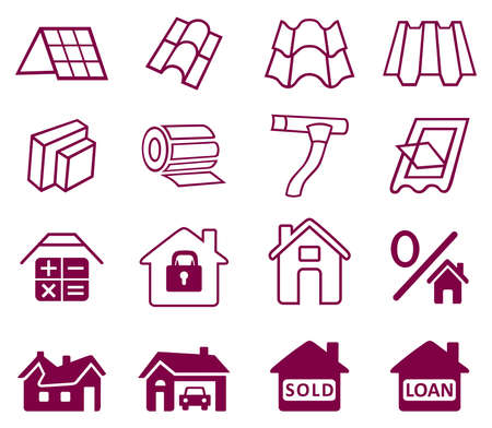 roof ridge: Sale buildings materials (roof, facade) site icons set isolated on white background, vector illustration