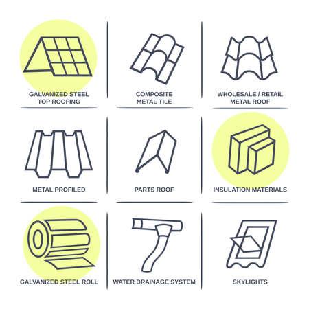 판매 건물 재료 (지붕, 외관) 사이트 인포 그래픽 아이콘은 흰색 배경에 고립 된 집합, 벡터 일러스트 레이 션