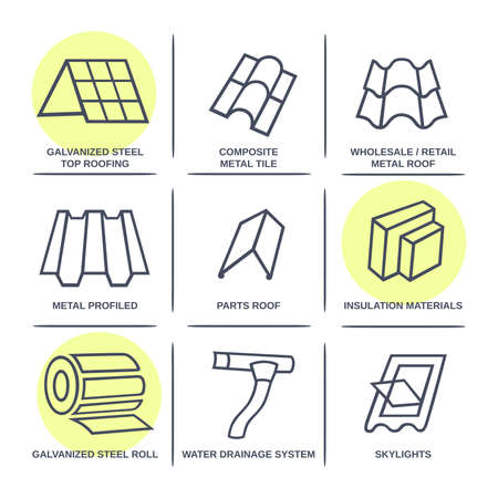 roofing system: Sale buildings materials (roof, facade) site icons infographics set isolated on white background, vector illustration