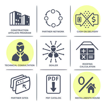 housetop: Sale buildings materials (roof, facade) site icons infographics set isolated on white background, vector illustration