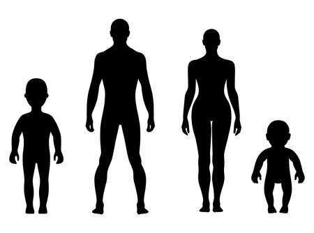 nude man: Full length front human silhouette vector illustration, isolated on white Illustration