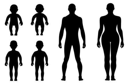 Pleine longueur devant, dos humain illustration silhouette vecteur, isolé sur blanc Banque d'images - 38733162