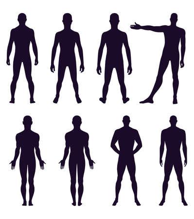 hombre desnudo: Frontal de cuerpo entero, silueta posterior del hombre ilustración vectorial, aislado en blanco