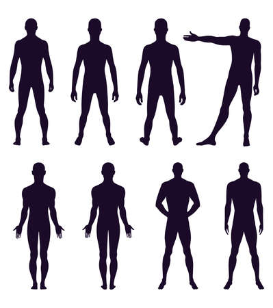 naked male: Full length front, back silhouette of man vector illustration, isolated on white