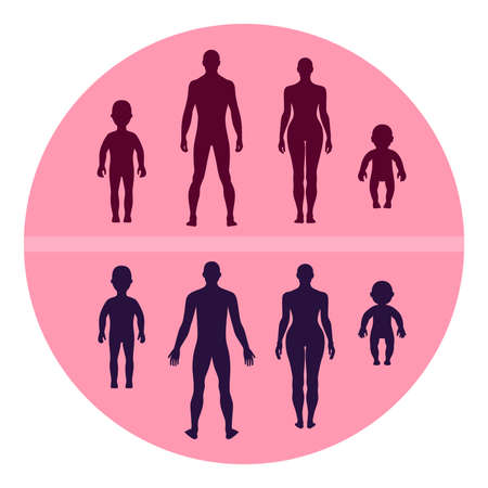 Full length front human silhouette vector illustration, isolated on pink